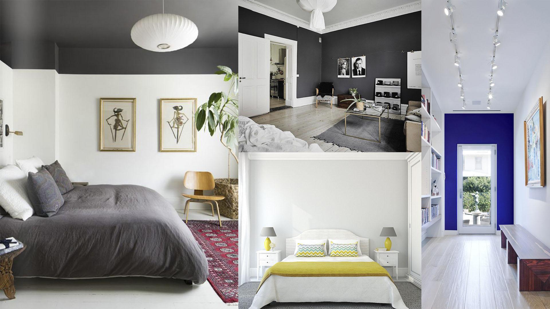 Ambiente com tecto pintado e paredes pintadas