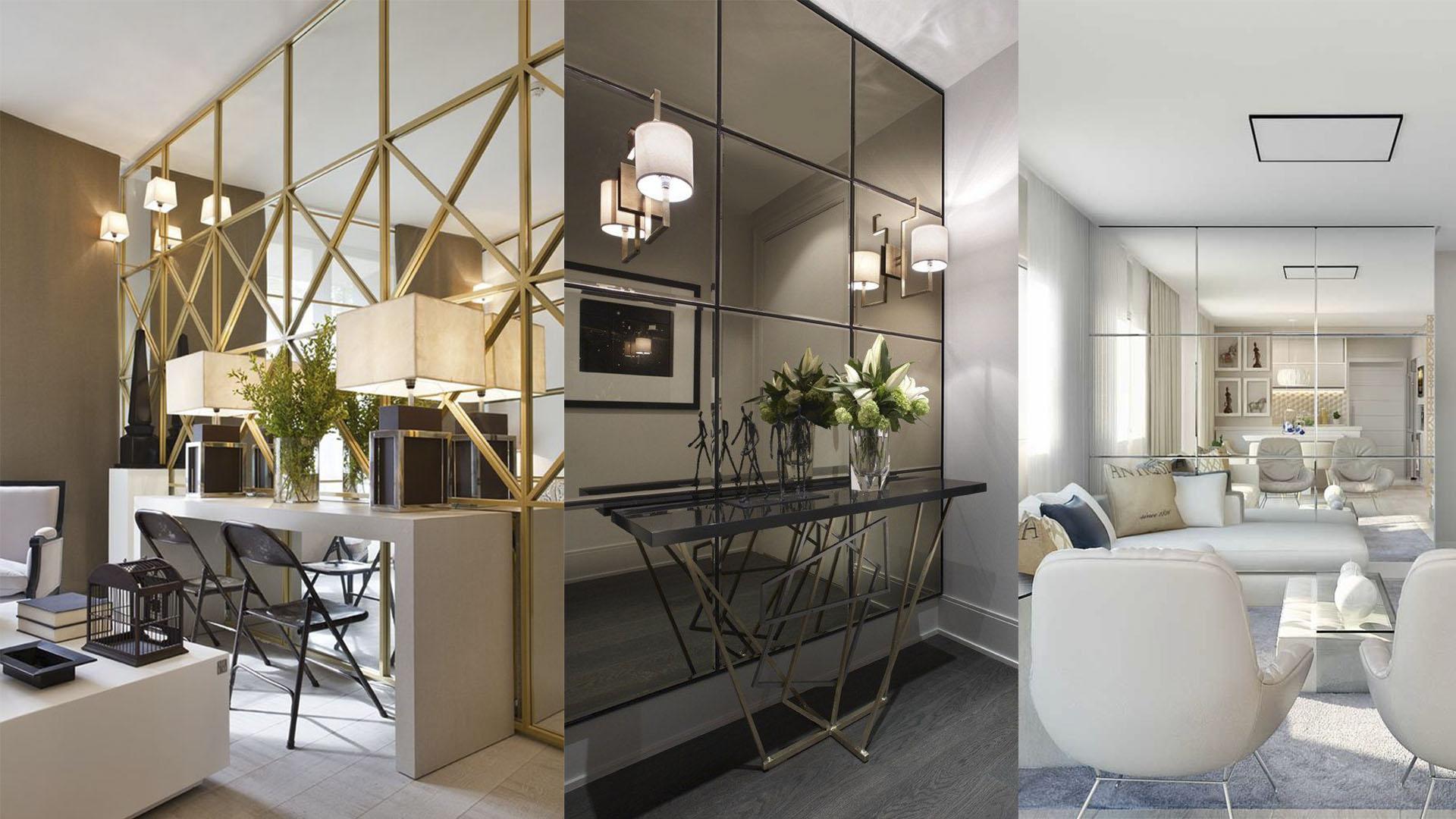 Aumentar e diminuir espaços Ambientes com paredes de espelho