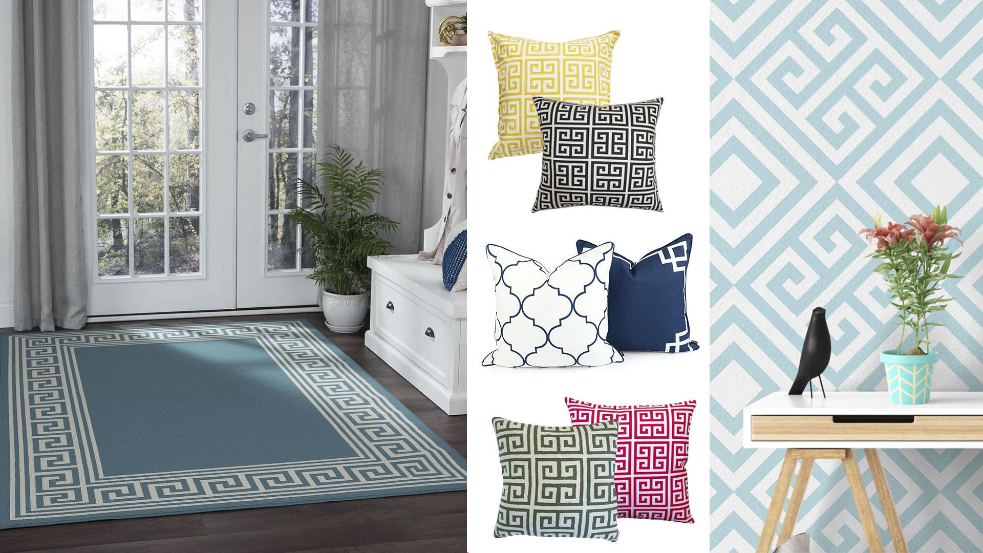 4 ideias para tornar a sua casa num refúgio de Verão: Tapete almofadas e papel de parede com padrões gregos