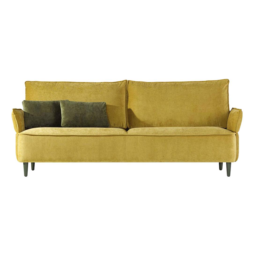Sofá amarelo forrado a tecido